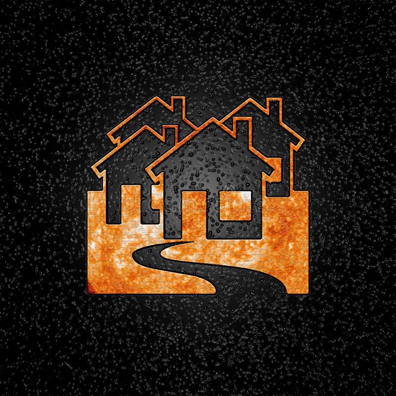 Logotipo do incêndio dos bens imobiliários ilustração do vetor