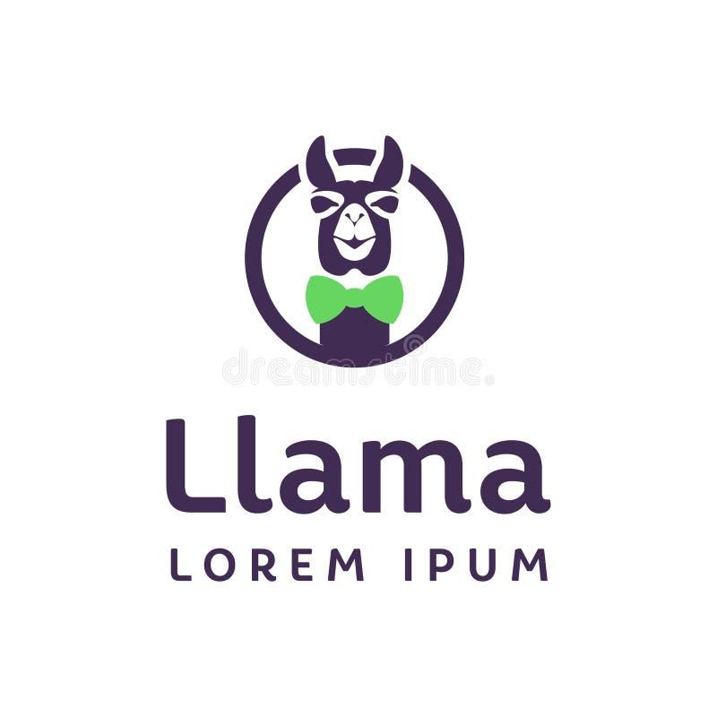 Logotipo do lama em um círculo com uma curva no pescoço ilustração royalty free