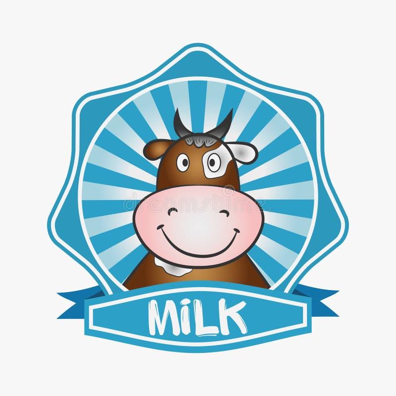Logotipo do leite Etiqueta do projeto do molde, emblema Cópia para empacotar com uma vaca Vetor ilustração royalty free