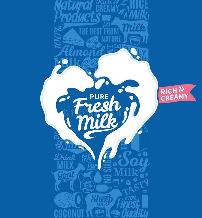 Logotipo do leite do vetor ilustração stock