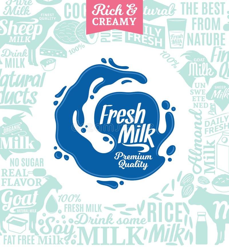 Logotipo do leite do vetor ilustração royalty free
