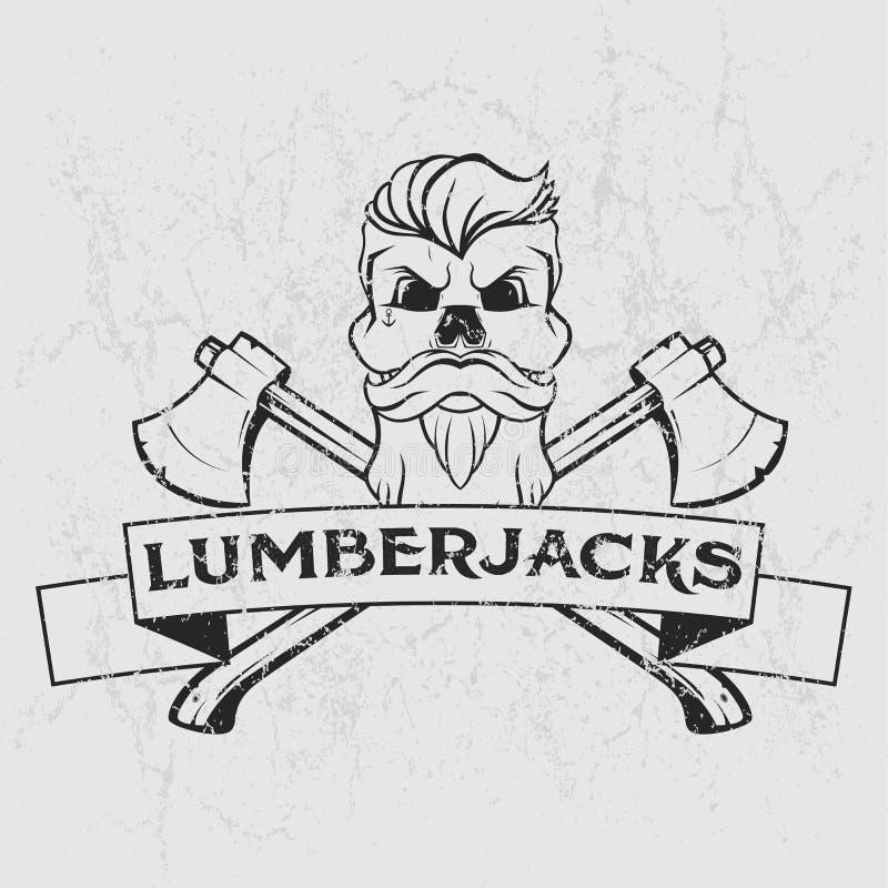 Logotipo do lenhador, projeto do t-shirt com barba ilustrada, crânio, machados e fita Ilustração desenhada mão ilustração do vetor
