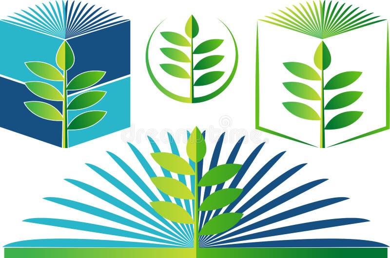 Logotipo do livro da biologia ilustração stock