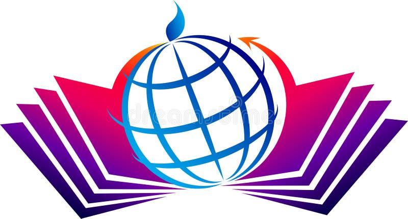 Logotipo do livro e do globo ilustração stock