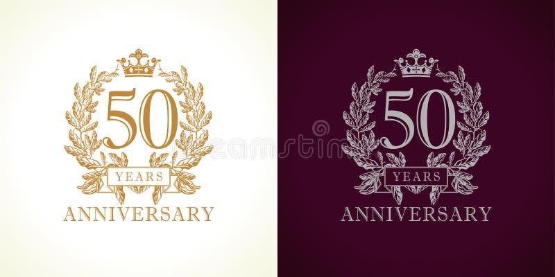 logotipo do luxo de 50 aniversários ilustração stock