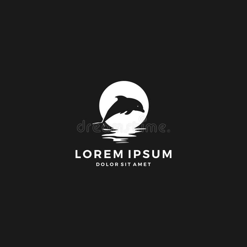 logotipo do mar da praia de Moon Bay do golfinho ilustração royalty free