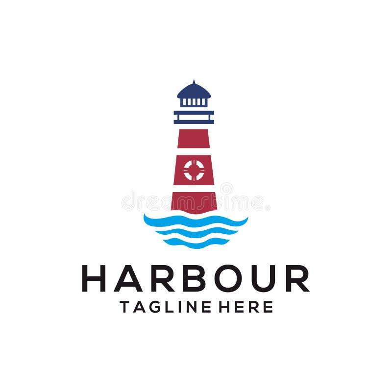 Logotipo do mar da praia do porto e projeto do ícone ilustração stock
