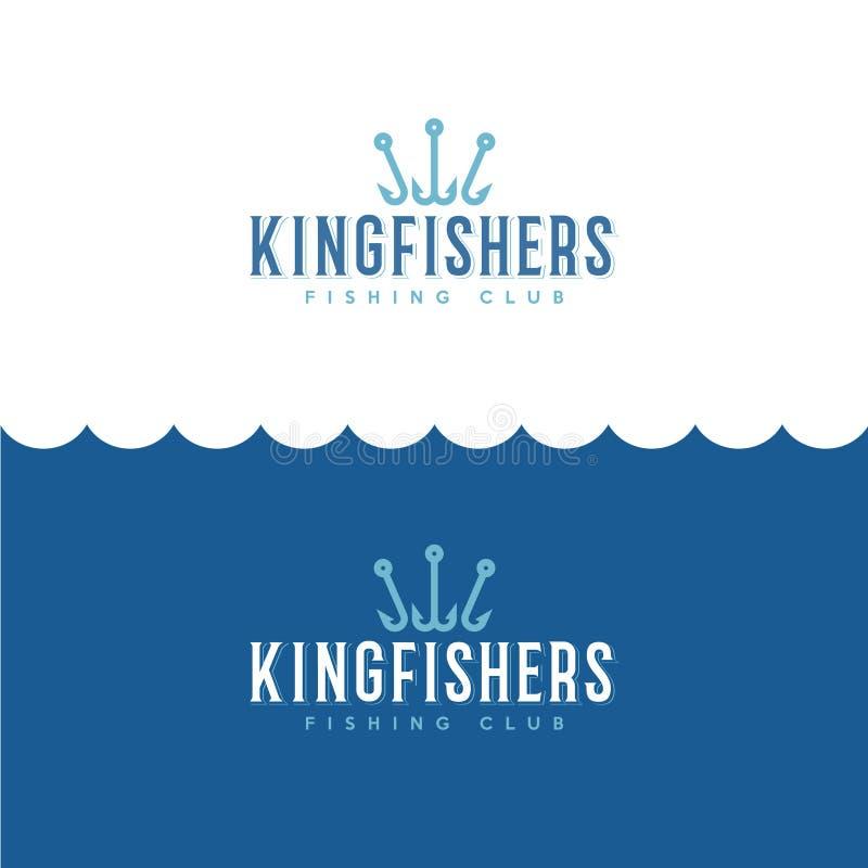 Logotipo do martinho pescatore Pescando ou logotipo da loja do equipamento de pesca Pescador Club do emblema ilustração royalty free