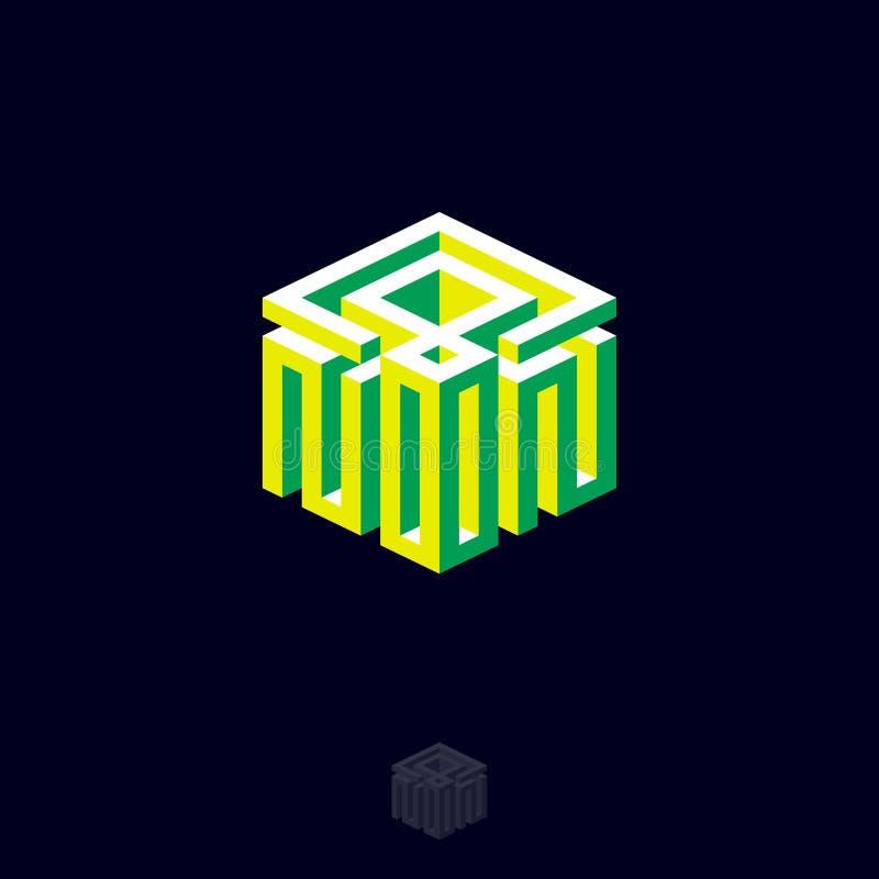 Logotipo do meio-dia das letras como a projeção isométrica Composição tipográfica isométrica como a construção dos cubos ilustração royalty free