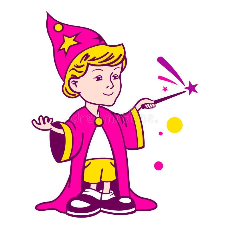Logotipo do menino do feiticeiro ilustração stock