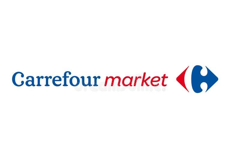 Logotipo do mercado de Carrefour ilustração royalty free