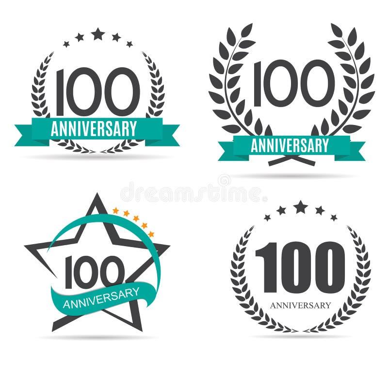 Logotipo do molde 100 anos de ilustração ajustada do vetor do aniversário ilustração do vetor