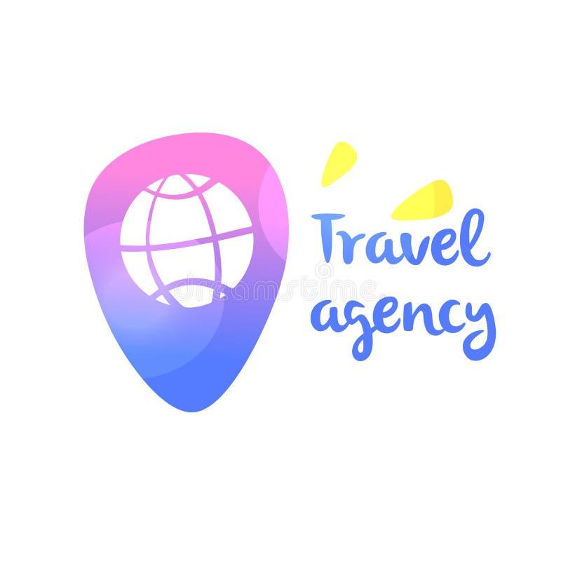 Logotipo do molde para a agência de viagens Lugar da verificação do mapa do ponto no nav ilustração stock