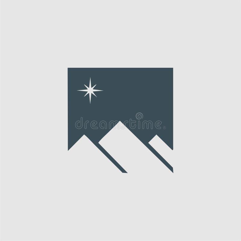 Logotipo do monograma da montanha ilustração stock
