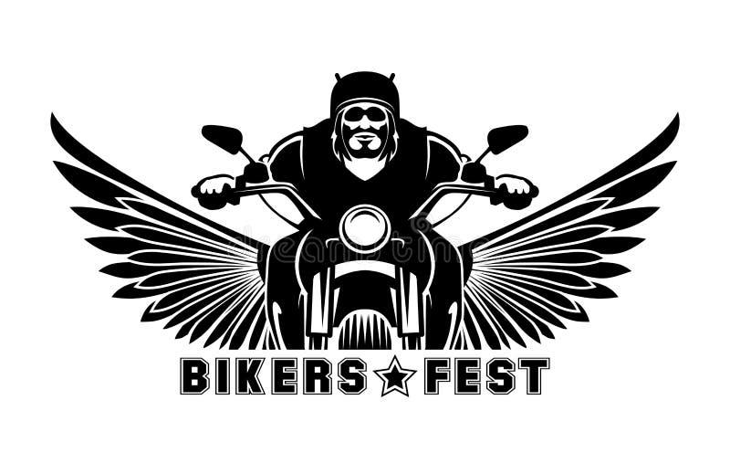 Logotipo do motociclista ilustração royalty free