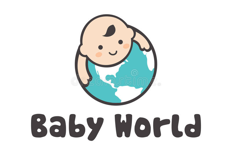 Logotipo do mundo do bebê ilustração royalty free