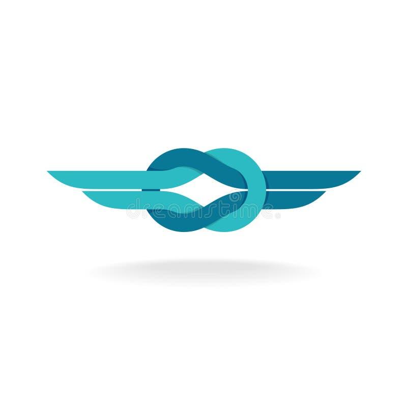 Logotipo do nó com asas ilustração do vetor