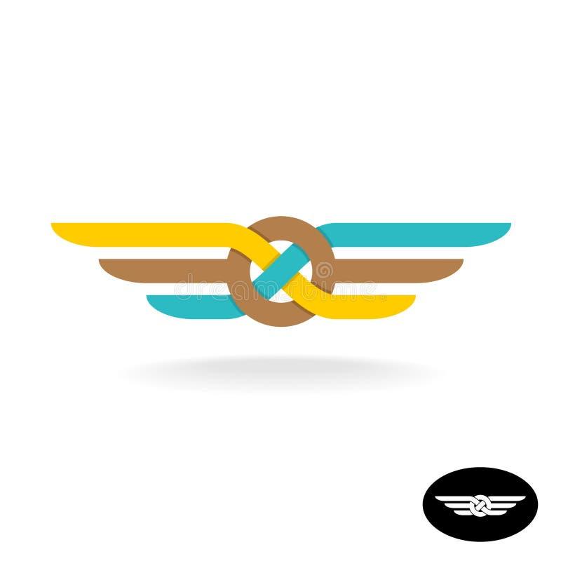 Logotipo do nó da relação com asas Símbolo liso do weave do estilo ilustração stock