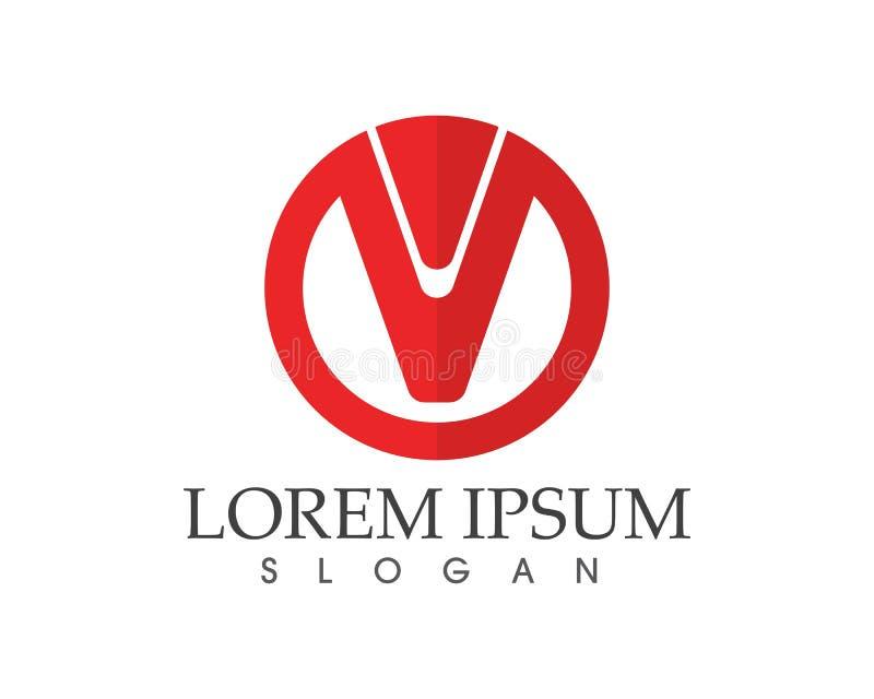 Logotipo do negócio das letras v e molde dos símbolos ilustração stock