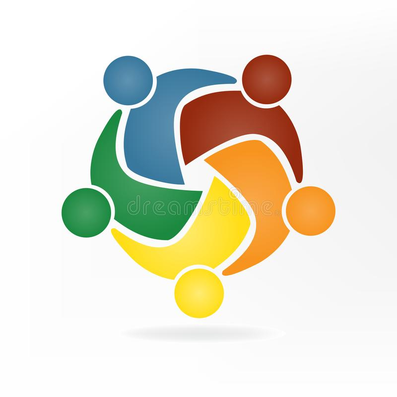 Logotipo do negócio dos trabalhos de equipa Conceito da solidariedade dos objetivos da união da comunidade ilustração do vetor