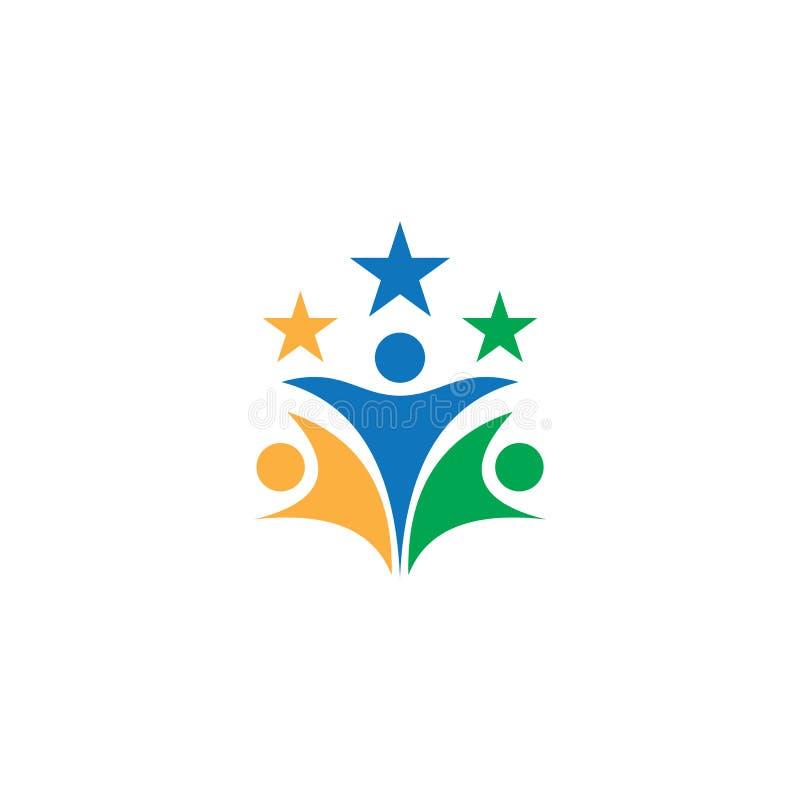 Logotipo do negócio dos trabalhos de equipe da estrela dos povos ilustração stock