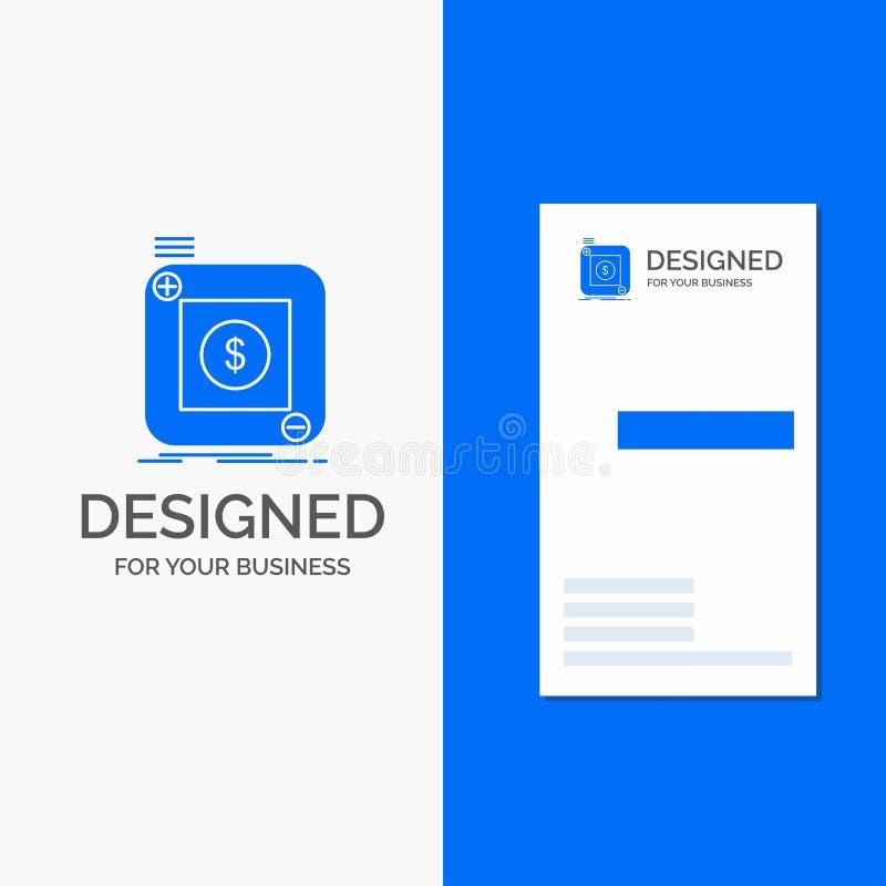 Logotipo do negócio para a compra, loja, app, aplicação, móbil Molde azul vertical do cart?o do neg?cio/de visita ilustração royalty free