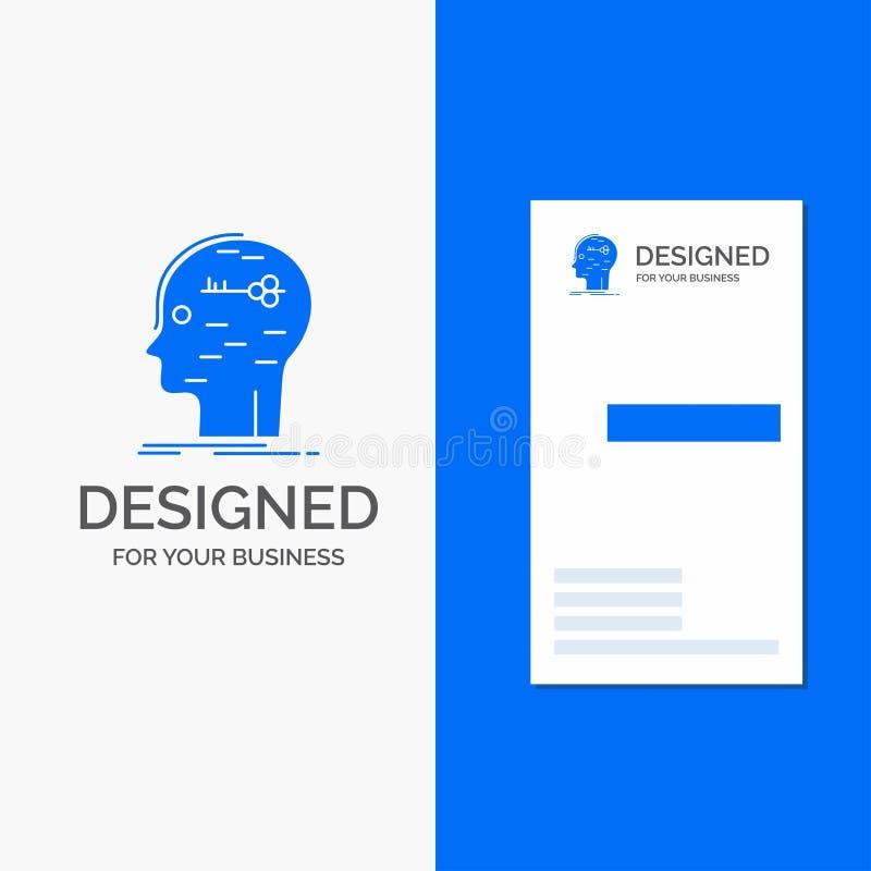 Logotipo do negócio para o cérebro, corte, corte, chave, mente Molde azul vertical do cart?o do neg?cio/de visita ilustração royalty free