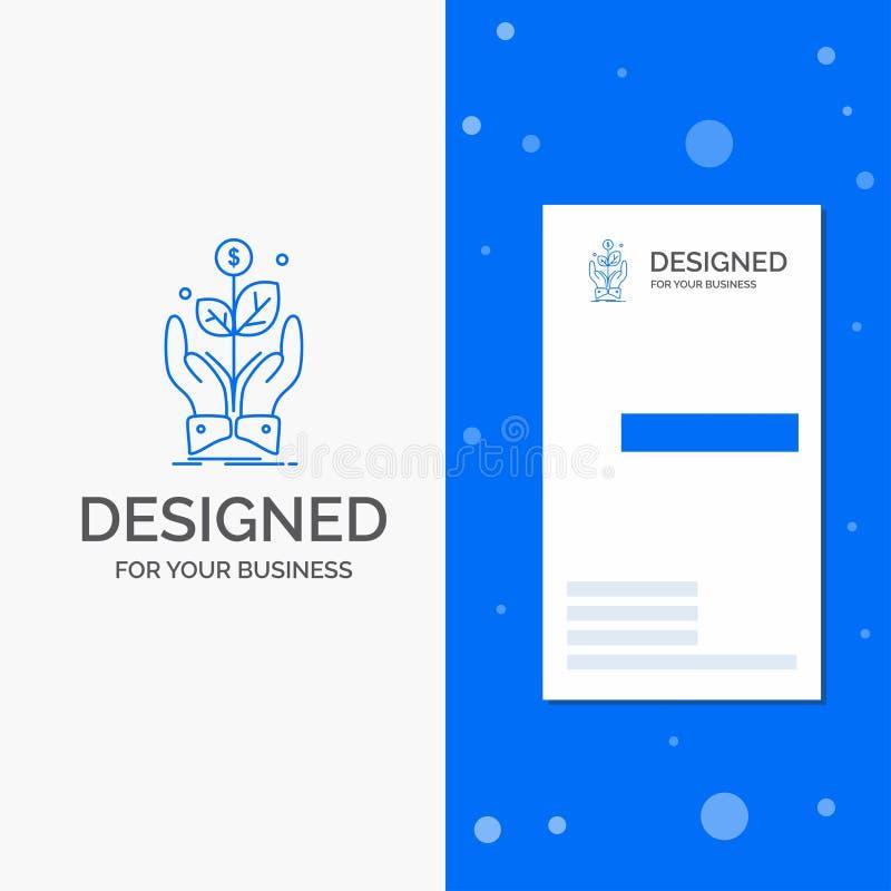 Logotipo do negócio para o negócio, empresa, crescimento, planta, elevação Molde azul vertical do cart?o do neg?cio/de visita ilustração stock