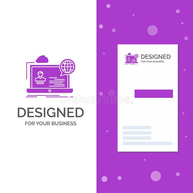 Logotipo do negócio para webinar, fórum, em linha, seminário, Web site Molde roxo vertical do cart?o do neg?cio/de visita Fundo c ilustração stock