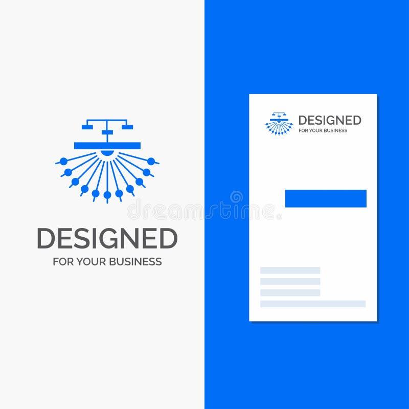 Logotipo do neg?cio para a otimiza??o, local, local, estrutura, Web Molde azul vertical do cart?o do neg?cio/de visita ilustração stock