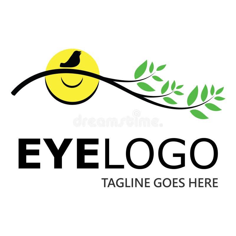 Logotipo do olho Um ` s do homem estilizou o olho com um ramo de uma árvore Logotipo abstrato para a opinião da recuperação da cl ilustração stock
