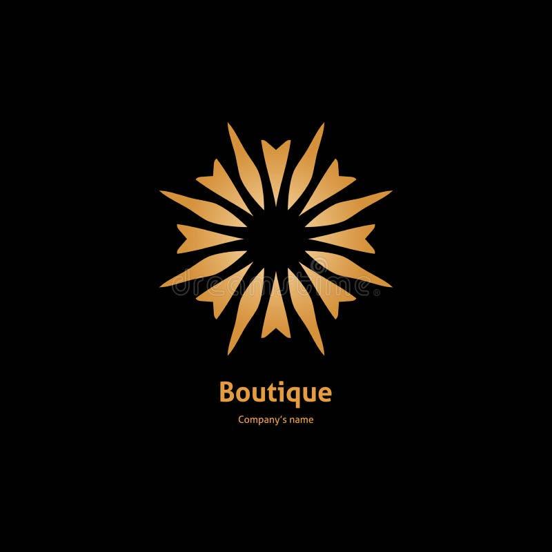 Logotipo do ouro, flor Sinal geométrico simples Ícones, negócio, convites retro ilustração royalty free