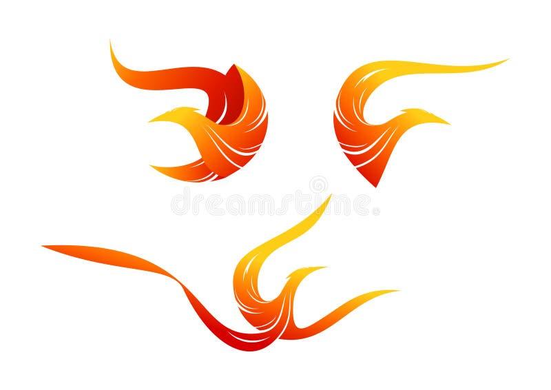 Logotipo do pássaro da chama, projeto do símbolo de phoenix ilustração royalty free