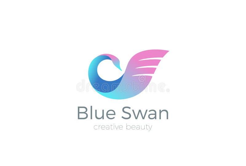 Logotipo do pássaro do vetor do projeto do logotipo da cisne dos cosméticos da beleza ilustração stock