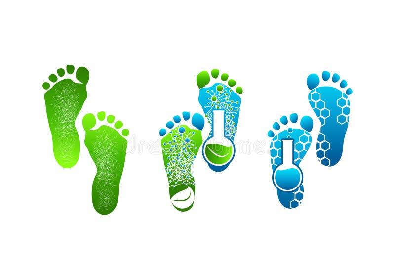 Logotipo do pé, do símbolo pés verdes de projeto de conceito ilustração stock