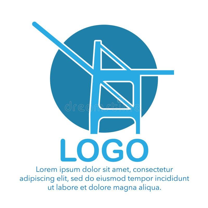 logotipo do pórtico do porto do recipiente no cais ilustração stock