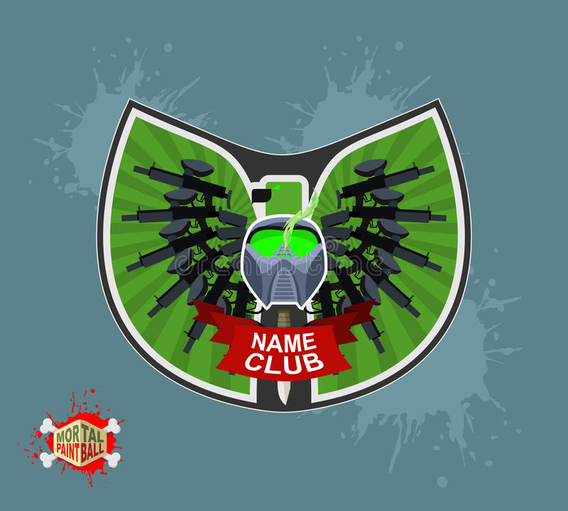 Logotipo do Paintball Protetor com asas ilustração royalty free