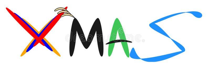 Logotipo do período da palavra do Xmas para o produto novo do negócio ilustração royalty free
