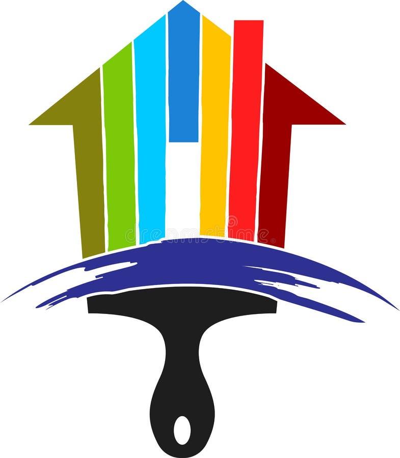 Logotipo do pincel da casa ilustração stock