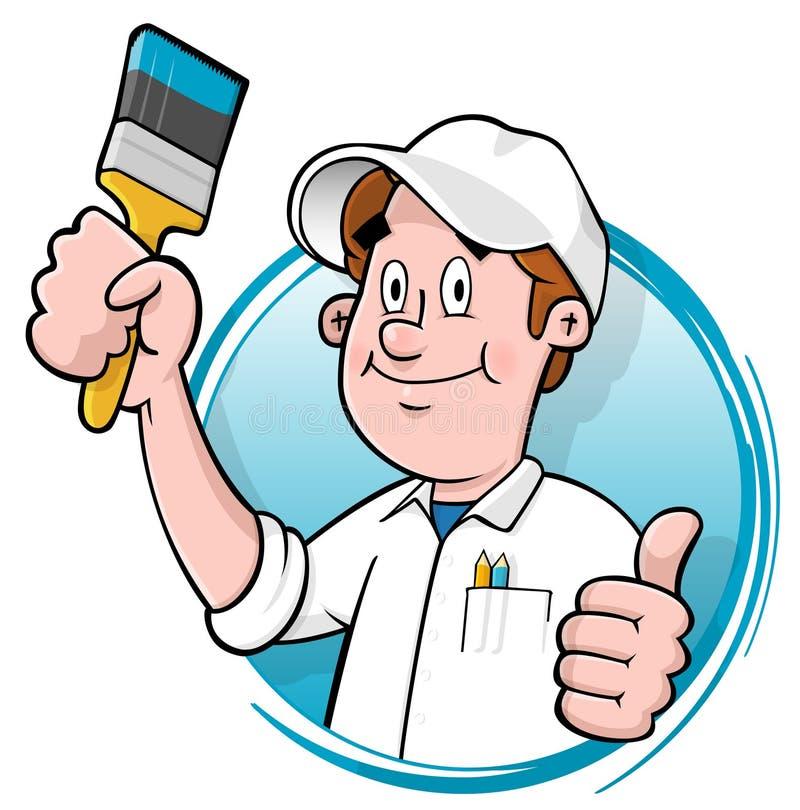 Logotipo do pintor de casa dos desenhos animados ilustração do vetor