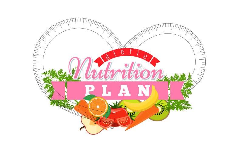 Logotipo do plano da nutrição Etiqueta do símbolo do crachá para o conceito da dieta Ilustração lisa do vetor do projeto ilustração stock