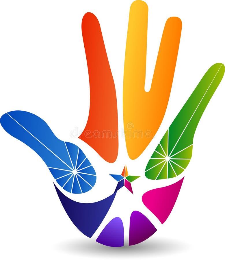 Logotipo do poder da mão ilustração stock