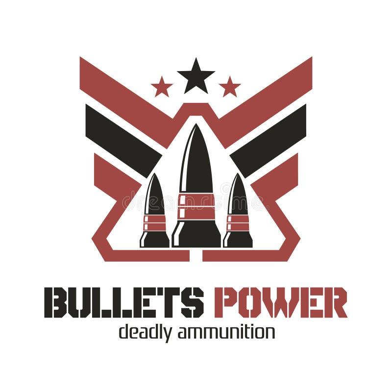 Logotipo do poder das balas Munição mortal ilustração stock