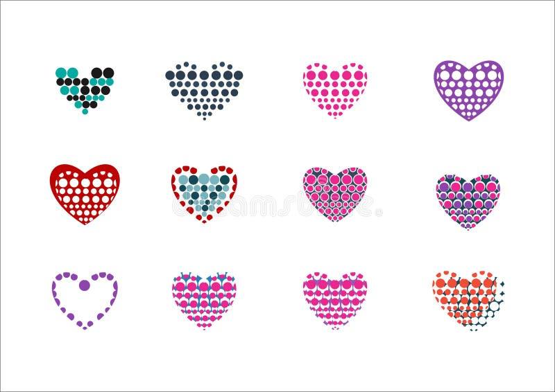 Logotipo do ponto do círculo do amor do coração ilustração royalty free