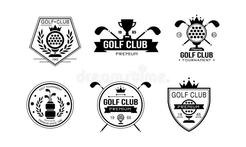 Logotipo do prêmio do clube de golfe, crachás retros golfing do clube de esporte, competiam do esporte ou ilustração do vetor das ilustração do vetor