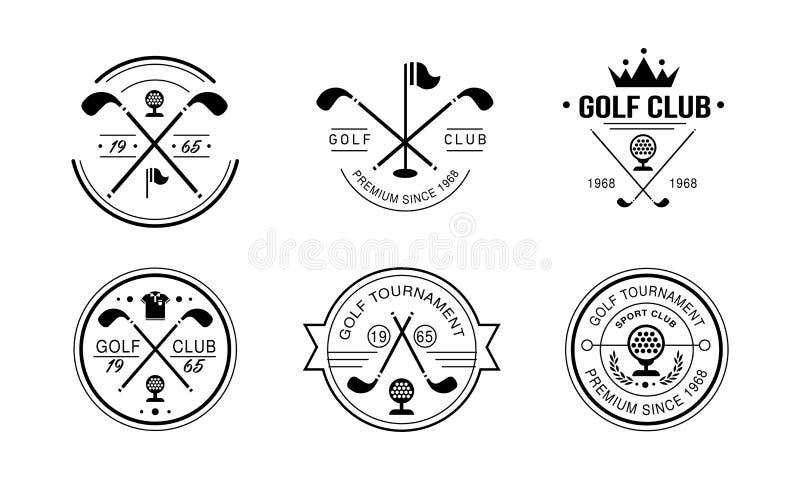 Logotipo do prêmio do clube de golfe desde 1968, crachás retros do clube golfing, competiam do esporte ou vetor das etiquetas do  ilustração do vetor