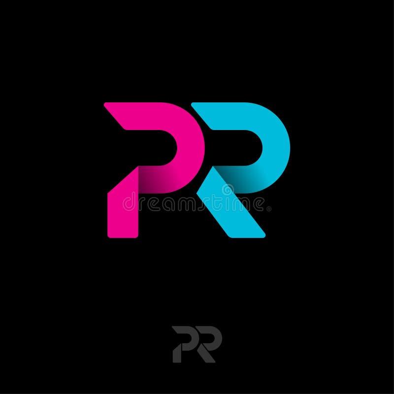 Logotipo do PR Emblema das relações públicas Letras azuis e cor-de-rosa do origâmi ilustração stock
