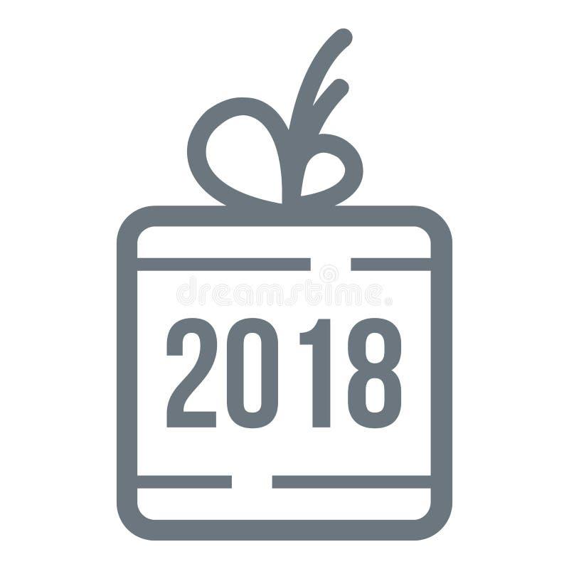 Logotipo do presente do Natal, estilo cinzento simples ilustração royalty free