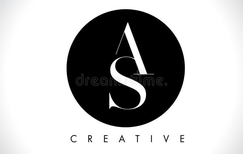 Logotipo do projeto de letra do as com vetor preto e branco das cores ilustração royalty free