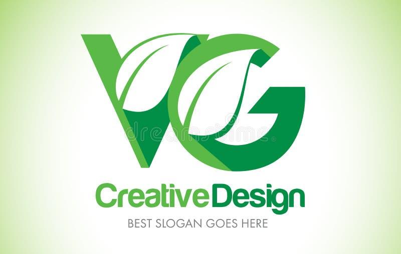 Logotipo do projeto de letra da folha do verde do VG Ícone Illus da letra da folha de Eco bio ilustração do vetor